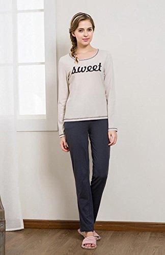 QX Manica Lunga Cotone Pigiama Vestaglia Autunno Nightwear Ultima Donna, Linen, l (160/84a)