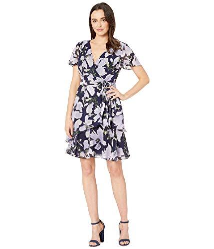 Tahari ASL Women's Short Sleeve WRAP Tiered Dress Casual, Lav Navy Floral, 10