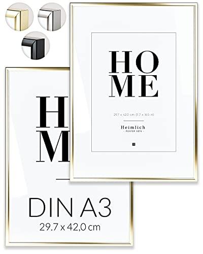 Heimlich Doppia Confezione (2 pz.) Cornici in Alluminio - con plexiglass antisfondamento - DIN A3 (30x42cm) Oro