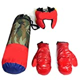 SR Enterprises Military Green Children Kids Boxing Kit with Punching Bag, Gloves and Headgear (60 CMs)