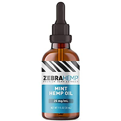 ZEBRA HEMP Mint Oil – USA Made - Pure Organic Oil Drops in Tincture for Discomfort & Stress Relief, Sleep and Mood Support – 750 mg… from Zebra Hemp