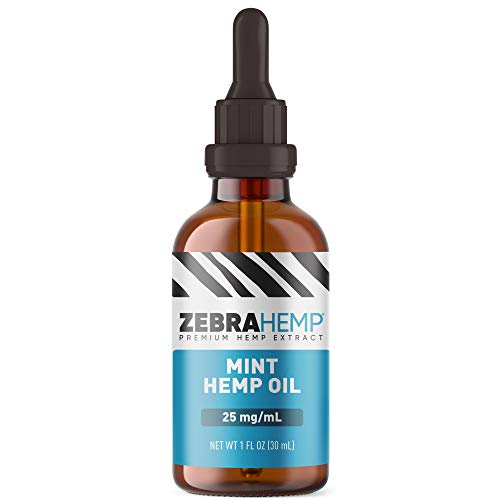 ZEBRA HEMP Mint Oil – USA Made - Organic Grown Hemp Oil Drops in Tincture for Anxiety, Pain & Stress Relief, Healthy Sleep and Mood Support – 750 mg