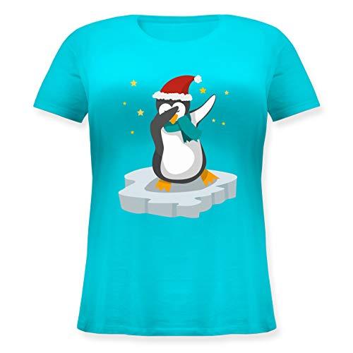 Weihnachten & Silvester - Dab Pinguin Weihnachten - 46 Große Größen - Hellblau - Shirt Weihnachten - JHK601 - Lockeres Damen-Shirt in großen Größen mit Rundhalsausschnitt