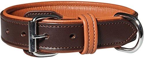 Knuffelwuff 13967-003 Leder Hundehalsband mit Schnallenschutz Detroit, 40-48 cm, braun