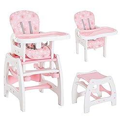 HOMCOM 3 in 1 Kinderhochstuhl Kombihochstuhl Multifunktion Babyhochstuhl mit Schaukelfunktion in verschiedenen Farben (Rosa/Weiß)