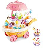 Kids SimulationToys, Ice Cream Candy Cart Juego de simulación Food Dessert Candy Trolley de Juguete con música y luz para niños Best Gift