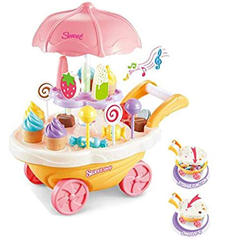 Kids SimulationToys, Ice Cream Candy Cart Juego de simulación Food Dessert Candy Trolley de Juguete con música y luz para niños Best Gift