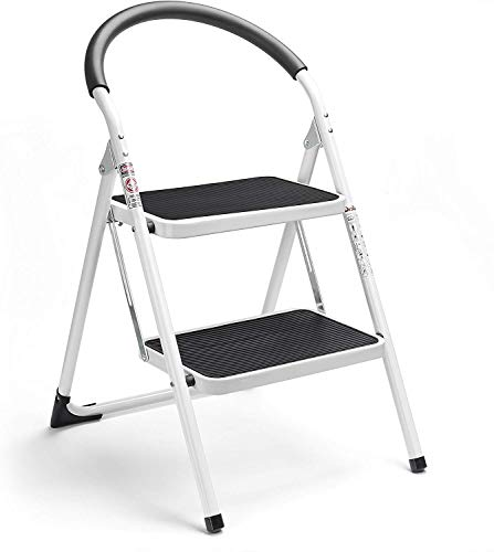 HOUSE DAY Escalera Escalera Plegable de 2 peldaños, Escalera Plegable Escalera de Acero sin escalones, Resistente y Ancha, Capacidad de Carga de hasta 150 kg, Blanco y Negro, (WK2061A-2)