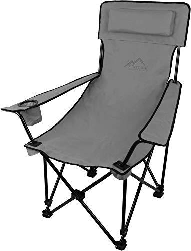 normani Sehr Stabiler Klappstuhl Campingstuhl Angelstuhl mit Getränkehalter, Abnehmbarer Polsterung Tragetasche - bis zu 150 kg Farbe Grey