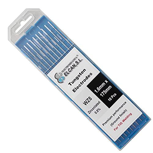 ELCAN Tungstenos soldadura TIG Zirconio 0.8% Blanco AZ8 profesional, electrodos soldadura para torcha TIG de 1,0 1,6 2,0 2,4 3,2 mm, 10 unidades - Dimensiones: 1,6 x 175 mm