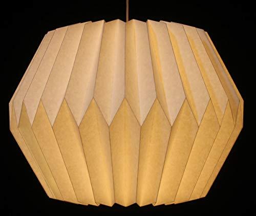 Guru-Shop Pantalla de Papel de Diseño de Origami - Modelo Umbría, 27x38x38 cm, Lámparas de Techo Asiáticas Lámparas de Papel Tela