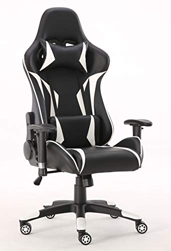 Requena Sport Desk Chair Adjustable Office Gaming Racing Chair Lumbar and Head Pillow Chair X3577 (White)