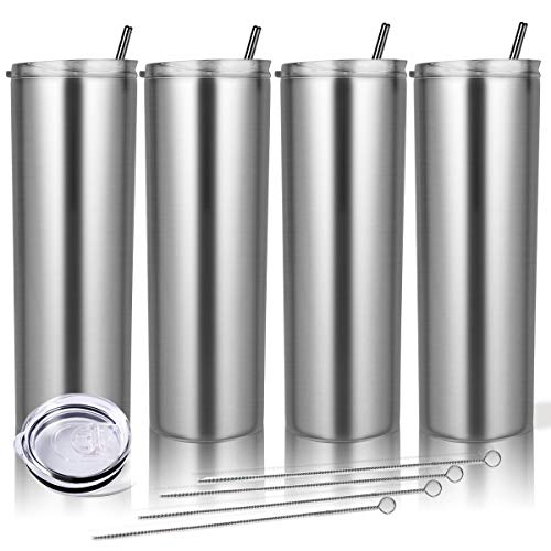 Zonegrace 4 Pack Stainless Steel Silver Skinny Tumbler with straw,20 oz Stainless Steel Double-Insulated slim Water Tumbler Cup With Lid and Straw Vacuum Travel Mug Gift for Men and Women