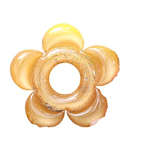 Anillo de NatacióN Flor del Sol Flotador Swimming Ring para Adultos Inflatable PVC Transparente y Brillante 140cm de DiáMetro,Golden