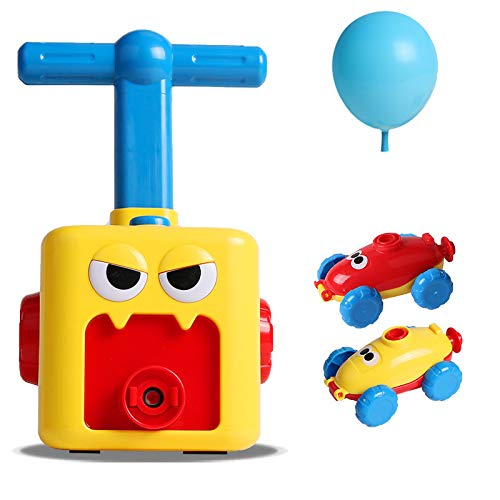 AWFAND Inertial Power Ballon Auto, aufblasbare Ballonpumpe Hand Push Air Power Ballon Wissenschaft Experiment Fahrzeug Power Ball Auto Spielzeug für Kinder Geschenk mit 6 Stück Ballon