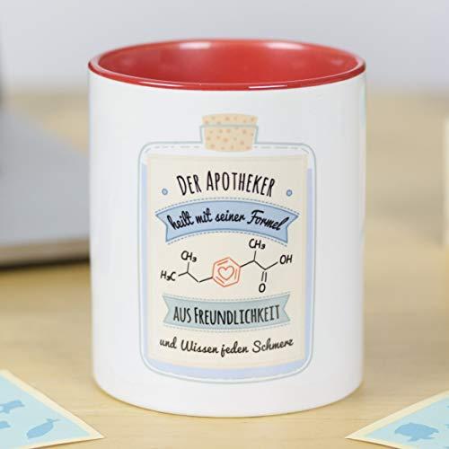 LA MENTE ES MARAVILLOSA Gedankenwelt - Tasse mit lustiger Botschaft (Der Apotheker heilt mit Seiner Formel aus Freundlichkeit und Wissen jeden Schmerz.) Geschenk für Apotheker