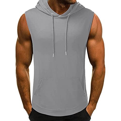 Débardeur d'été pour homme - Sans manches - À capuche - Pour le bodybuilding - Sport - Fitness - Gym - Slim Fit - Débardeur pour homme - Débardeur de jogging - Maillot de corps - Beige - Medium