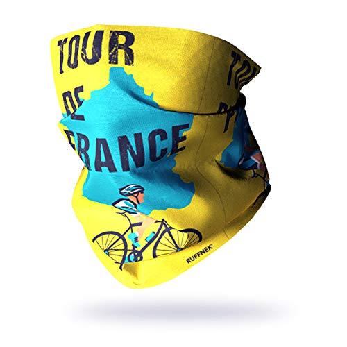 Ruffnek Tour de France Design Foulard Multifonction Cyclisme Tour de Cou Bonnet Masque Visage pour Hommes Femmes Enfants Taille Unique