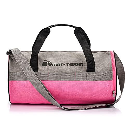 meteor Bolsa Deporte Viaje Gimnasio con Compartimento Separado para Zapatos Duffle Bag para Hombre Mujer Ultraligera Plegable Bolsa Deportiva 25 L Yoga Bolsa Fin de Semana (Gris/Rosa, 25 L)