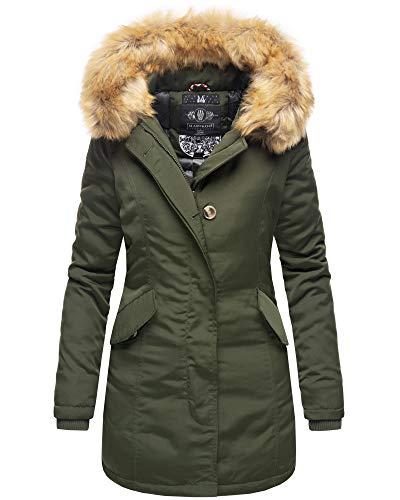 Marikoo Damen Parka Jacke Winterjacke Fellkapuze Trend Farben KRM55 (S, Olivgrün)