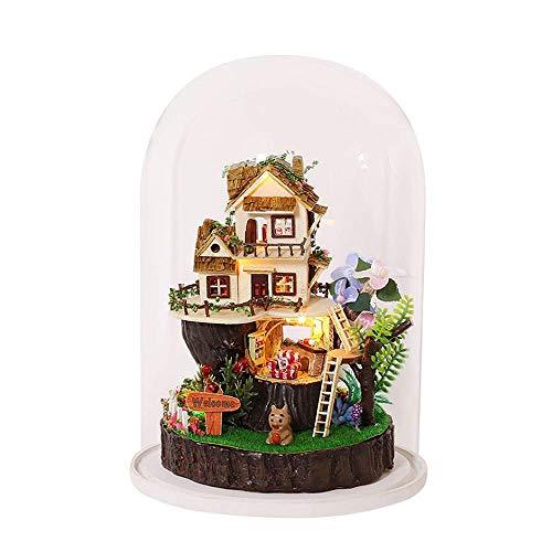 NDYD Casa de muñeca en Miniatura Casa de Madera Montaje de Juguetes DIY Cottage Martillado Micro-Paisaje Adornos artesanales Modelo Juguetes educativos Creativo Regalo DSB