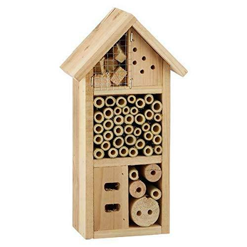 Posten Anker Insektenhotel Deluxe | Holzhaus mit Dach | hochwertiges Kiefernholz | inkl. Befestigungshilfe/Metallaufhänger | Schutz für Diverse Insekten | ca. 26cm hoch | einfach anzubringen