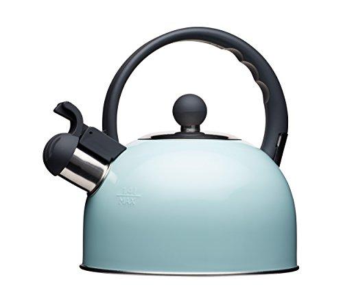 Kitchen Craft Living Nostalgia Bollitore a fischio, 1.3 L, Acciaio Inossidabile, Blu, 18 x 21.5 x 21 cm