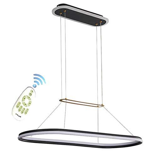 Lámpara colgante mesa de comedor LED lámpara colgante moderna lámpara de diseño curvo metal acrílico iluminación de techo sala de estar lámpara de cocina regulable con control remoto,Negro,L80CM