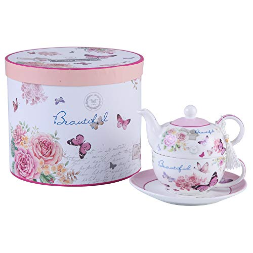 Tea for One Teapot Cup suacer Set Vintage Flora Rose Lavender Porcelain Gift Box (Butterfly Rose)