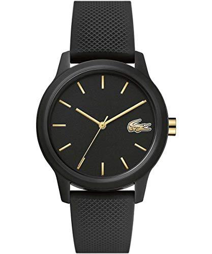 Lacoste Relógio de quartzo TR90 com pulseira de borracha, preto, 16 (modelo: 2001064)