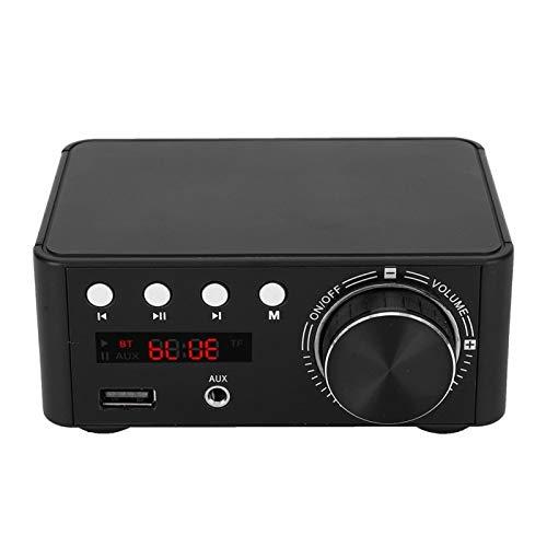 Receptor amplificador de 2 canales de audio estéreo Bluetooth 5.0 Mini amplificador integrado de clase Hi-Fi para altavoces domésticos 50W x 2 con control de graves y agudos(negro)