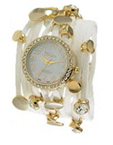 Ginebra Tres Cadena Wrap Reloj Oro Color Blanco