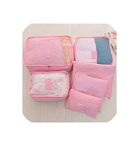 6Pcs/Set Oxford Cloth Travel Mesh Bag In Bag Luggage Organizer Packing Cube Organiser For Clothing,Pink