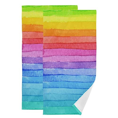 Toallas de Mano Suaves con Estampado de Rayas de arcoíris para baño Toallas Decorativas para...