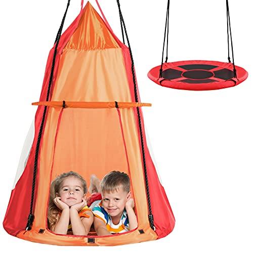 RELAX4LIFE Ø100 cm Nestschaukel mit Zelt, Gartenschaukel mit Tür & Fenster, Höhenverstellbares Hängezelt, bis 150 kg belastbar, Kinderschaukel für Indoor & Outdoor, für Kinder & Erwachsene (Orange)