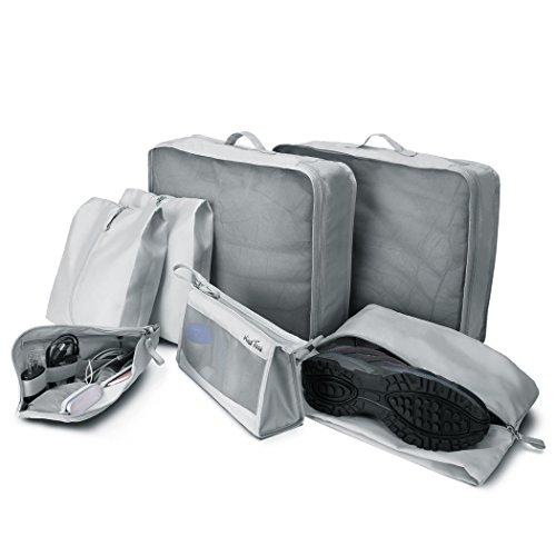 Wind Took Kleidertasche 7-teilig Set Packing Cubes Reise Kofferorganizer Packtaschen Reisegepäck Organizer mit Wäschesack Schuhbeutel Kosmetik Kulturbeutel Reisetaschen
