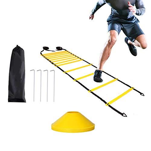 JZK Escalera de velocidad de 6 m y juego de conos y clavijas, escalera deportiva ajustable para ejercicios de agilidad, ejercicio y fitness para niños y adultos, escalera de entrenamiento de fútbol