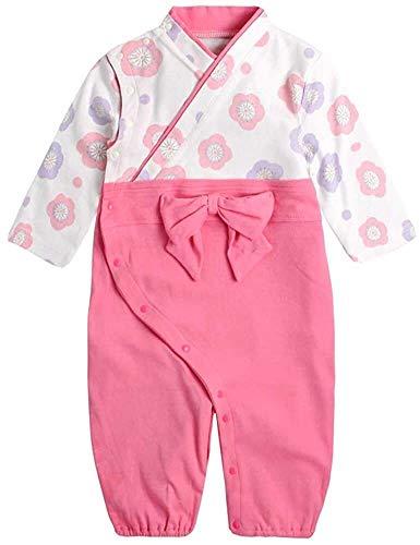 Crystallly Premium Set Ropa Ropa del Bebé del Mono Recién Nacido Estilo Simple Conjunto Tops Pantalones Mono Japón Kimono Traje De Cuerpo (Color : 39Pink, One Size : 90CM)