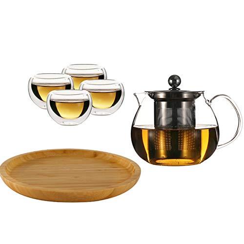 Teiera in vetro trasparente con infusori in acciaio inox 304 per tè sciolto e 4 tazze da tè e un vassoio in vetro borosilicato resistente al calore, set perfetto per tè e caffè