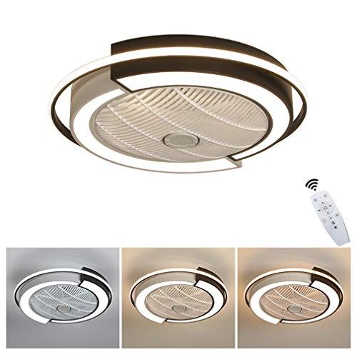 YAOXI LED Fan Deckenleuchte, Deckenventilator Mit Beleuchtung Fernbedienung Leise Dimmbar Einstellbare Windgeschwindigkeit Deckenlampe Für Schlafzimmer Wohnzimmer Esszimmer,Weiß,D53×20cm/36W