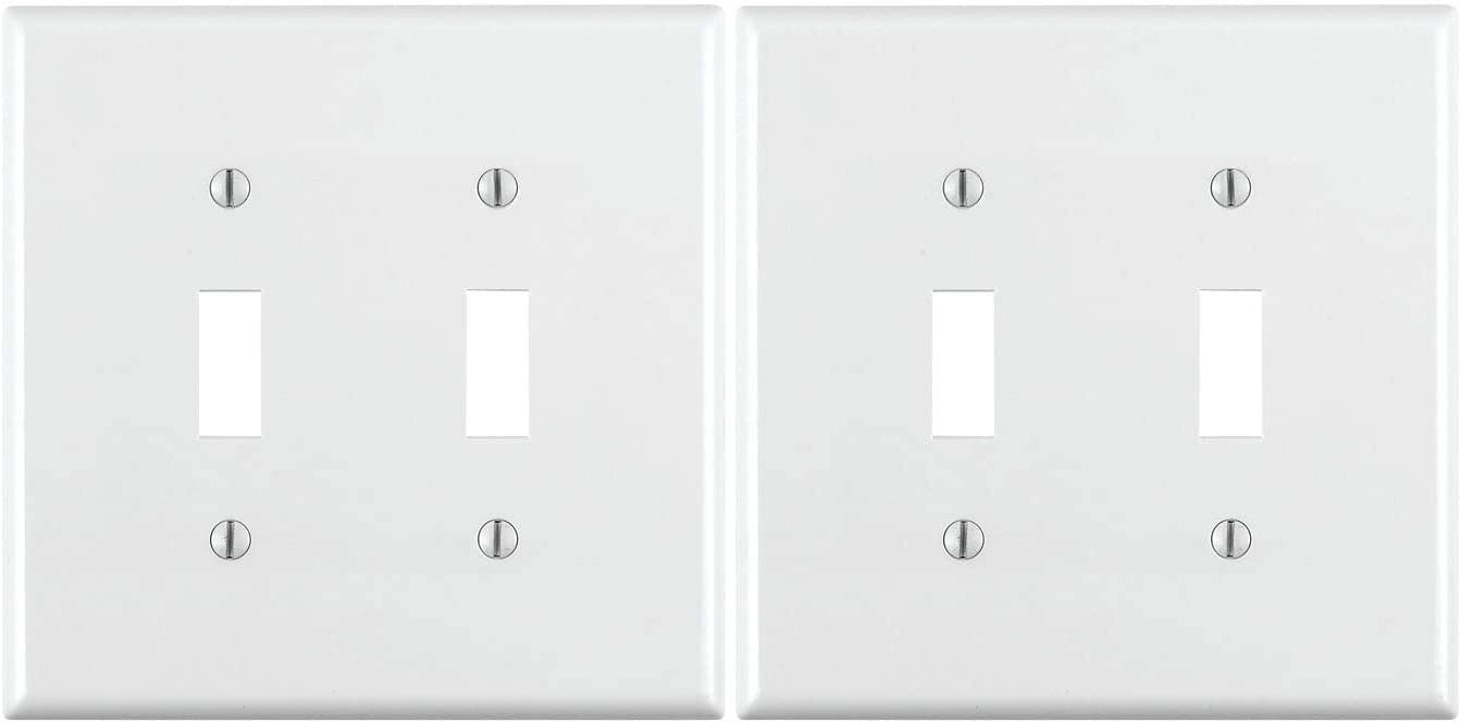 Standard Size 2-Gang Toggle Device Switch Wallplate 2 Pack Device Mount Thermoplastic Nylon 1-Pack White