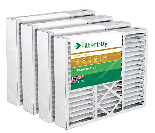 FilterBuy 20x25x5 Air Filter MERV 11, Pleated Replacement HVAC AC Furnace Filters for Honeywell, Carrier, Bryant, Day & Night, Lennox, and Payne (4-Pack, Gold)