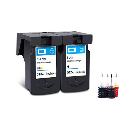 ZIJ Befon - Cartucho de tinta compatible PG 512 513 XL para impresora Canon PG512 CL513 para impresora Pixma MP230 MP250 MP240 MP270 MP480 MX350 IP2700 (color: SET INK)
