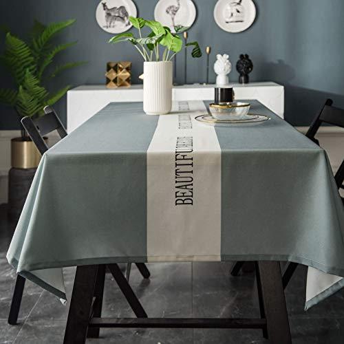 Epinki Mantel Color Sólido con Letras en el Medio Verde Mantel Poliéster para la Decoración de la Mesa de Comedor de Cocina Tamaño 135x135CM
