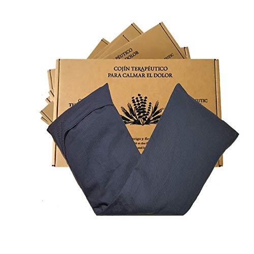 Saco semillas microondas, saco térmico de semillas con funda lavable 100% algodón con lavanda natural y trigo. Cojín térmico para cervicales y cólicos. Retención de frío y calor (Azul, 48X15)