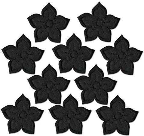 Iron on Patches- Flower Long Beach Mall Black On A Fabric Spring new work one after another Pieces 10 Patches