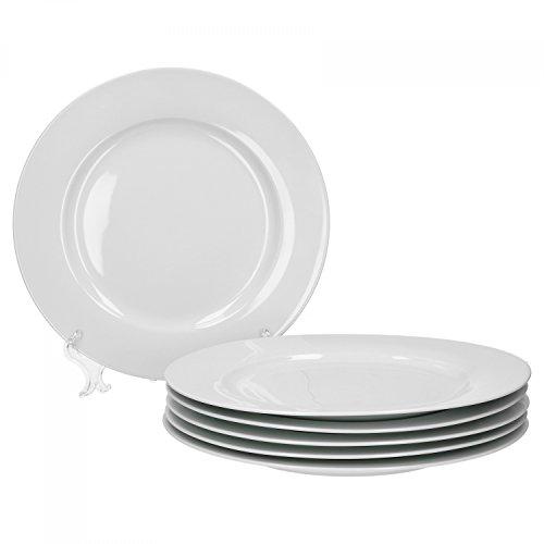 Van Well Trend 6er Set Speiseteller, flach Ø 27 cm weiß Porzellan Geschirr Teller