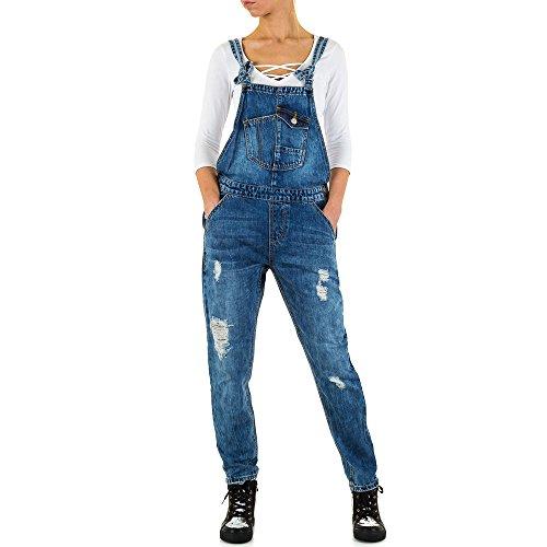 Ital-Design Destroyed Latz Skinny Jeans Für Damen, Blau In Gr. S