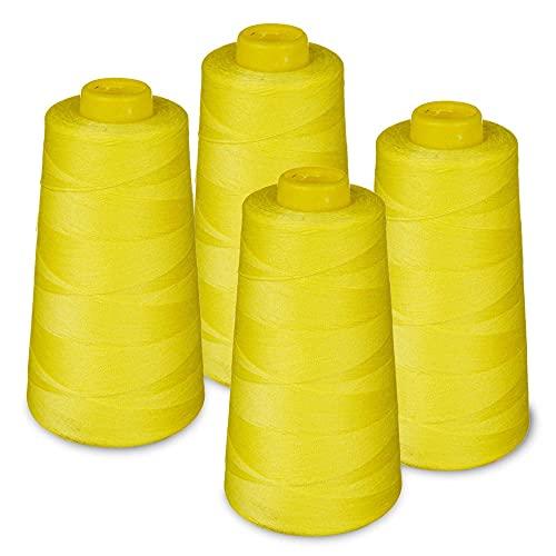 LIALINA - 4 Conos de Hilos Overlock 100% Poliéster (382 Amarillo) para Coser a Máquina y Remallar – 40S/2, 3000 Yardas – Hilo Para Remalladora Resistente, Duradero, Colores Brillantes de Máxima Calidad