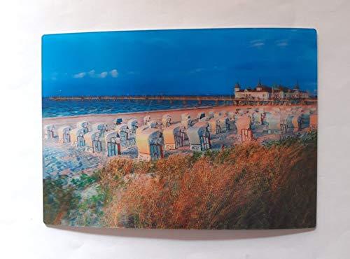 3 D Ansichtskarte Strandkörbe, Seebrücke Ahlbeck, Insel Usedom, Postkarte Wackelkarte Hologrammkarte, Strand Meer Ostsee